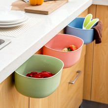 New Cute Kitchen Cupboard Doors Hanging Large Trash Can Without Cover Debris Storage Box Plastic Tube Scraps Lixeira(China)