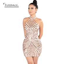 Fuedage Sexy Summer Evening Party Sequined Dress Vestido De Festa Vintage Pattern Vestidos Club Factory Overalls Dresses Curto(China)