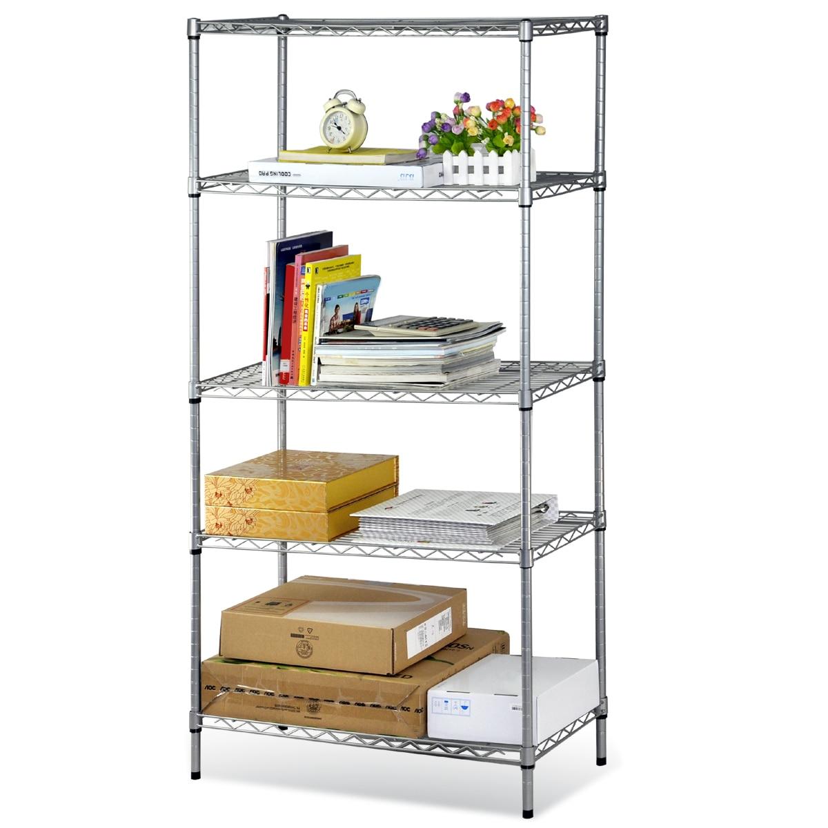 DSHA New Hot 5-Tier Stainless Steel Chrome Kitchen Storage Shelves New<br><br>Aliexpress