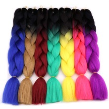 Amir Ombre Synthetic Kanekalon Braiding Hair For Crochet Braids False Hair Extensions Ombre Jumbo Braiding(China)