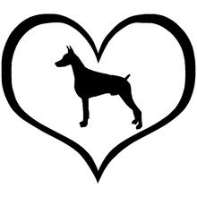 10.9*9.5CM Doberman Dog Heart Car Window Stickers Classic Creative Animal Car Accessories Black/Sliver C6-0204(China)