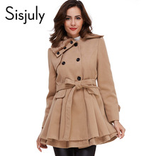 Sisjuly women coat winter autumn coat with belt brief women coat fashion style long sleeve red fashion slim khaki women coats