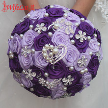 WifeLai-A Romantic Purple Heart Crystal Wedding Bouquet Durable Holding Artificial Flowers Diamond Brooch Pearl Bridal Bouquets