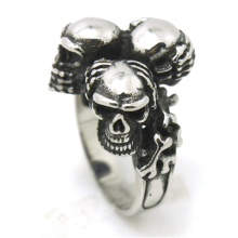 New Arrival Mens Very Cool Biker Style Silver Hide The Eyes,The Ears,The Month Skull Ring Top Quality 316L Stainless Steel(China)