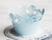 Free Shipping light blue lace ocean beach wedding cupcake wrappers paper cupcakes cup cake birthday baby shower baking wrapper(China)