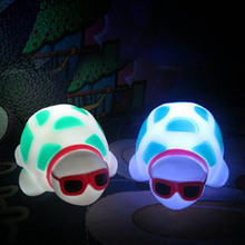 1Pc New Turtle LED Night Light Lamp Toy Party Home Decoration Colorful Baby Kids Flashing Light Up Toy Gift Funny Luminous Toy(China)