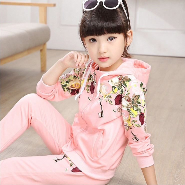 2017Spring autumn girls clothing set floral kids suit set casual two-piece sport suit for girl tracksuit children clothing<br><br>Aliexpress