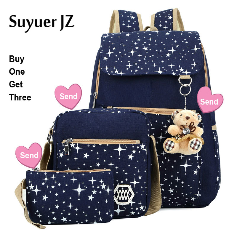 3Pcs/set Large Capacity Canvas Backpack For Teenagers Girl Boy Preppy Style Star Dot Schoolbag with Lovely Little Bear Pendant<br>