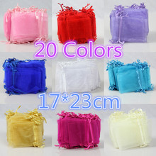 100pcs High Quality 17x23cm Large Organza Bag White Pink Purple Colorful Wedding Gift Candy Bags Jewelry Package Pouch