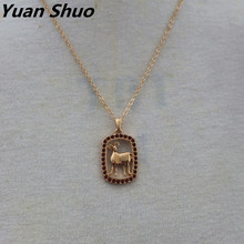 Yuan Shuo Foreign trade jewelry simple style ladies necklace geometric round wood combination pendant long necklace(China)