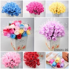 60 x Creative Wedding Favors Birthday Party Gifts Single Rose Design Cake Towel Artificial Flowers 6 Colors(China)