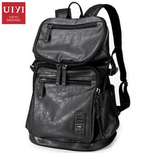 UIYI Men's Backpack Black PU Leather Travel Bag Men 14-inch Laptop Backbag Male Leisure High Capacity #UYB16005(China)