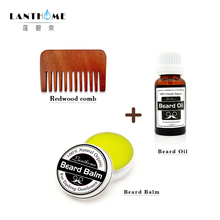 Dropshipping Lanthome Beard Oil Plus Beard Care Wax Balm & Wood Comb Beard Catcher Organic Beard Conditioner Hair Styling Clay