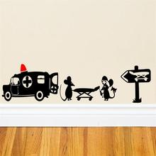 New Design Creative Black Mouse Patient home decal wall sticker/little rats mouse ambulance funny kids gifts ZY399(China)