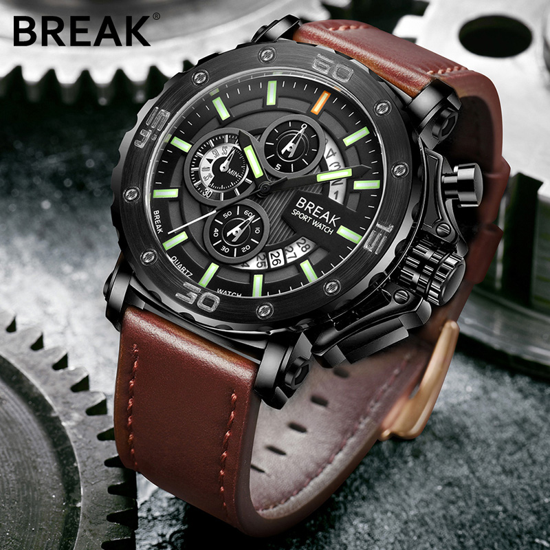 BREAK Men Luxury Brand Leather Strap Casual Fashion Chronograph Luminous Business Sport Quartz Wristwatches Man Military Watch<br>