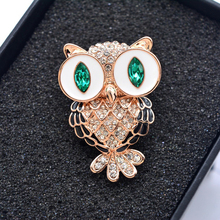 Beautiful Green Eyes Owl Rhinestone CZ Brooch(China)