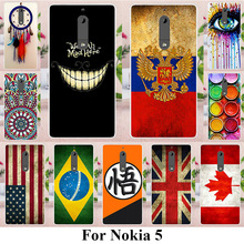 TAOYUNXI Soft TPU Silicone Phone Cases For NOKIA 5 Nokia heart 5.2 inch Covers UK Brazil Russia Flags Back Bags Phone Back Shell
