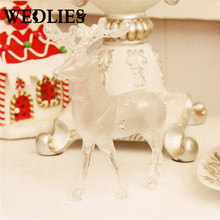 Transparent Acrylic Christmas Deer Ornaments Elk Figurine Miniature Party New Year Christmas Decoration for Home Holiday Gift(China)
