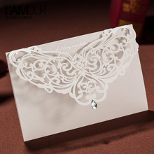 50pcs/set Hollow Laser Cut White Lace Flower Crystal Wedding Invitation Cards Privated Custom Envelopes & Seals Party Suppliers