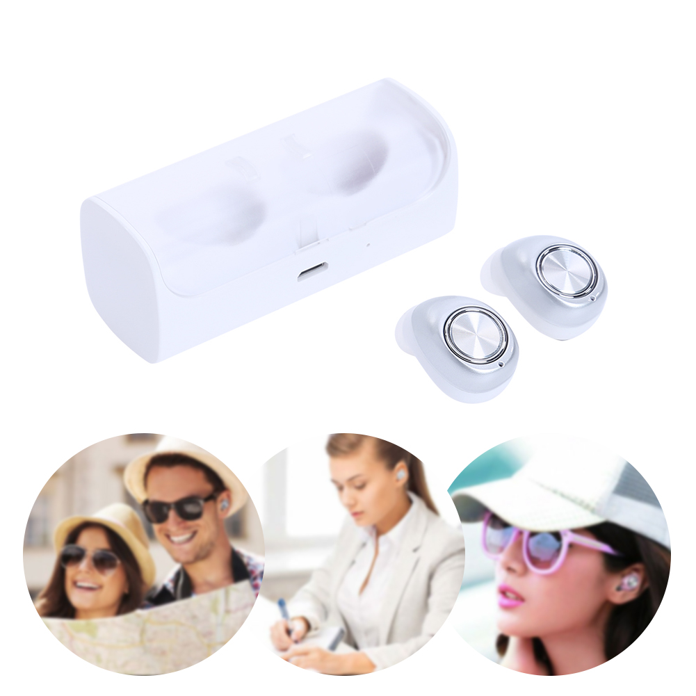 Dual Bluetooth 4.2 In-Ear Wireless Earbuds Headset Earphone & Charger Dock Built-in MIC A2DP /AVRCP Audio Processing System