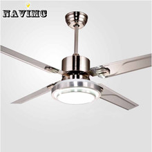 Remote Control Ceiling Fans With Lights Modern LED  Fashion Lights Stainless Steel Wing Fan Lights For Decorative