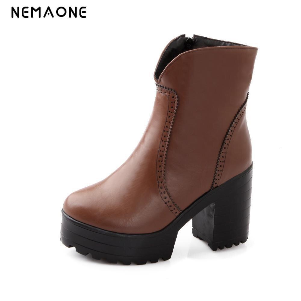 NEMAONE 4 Color Winter zip Sexy Women Boots Fashion Platform punk high square heels Black Ankle boots Plus Size 34-43<br>