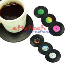 by dhl or ems 200set Cup Mats Vintage Vinyl Coasters CD Record Table Bar Drinks