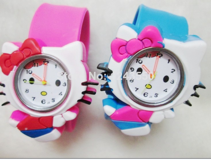 1pcs Hello Kitty Kids Slap Watch,Students watch children Quartz watch gifts(China)