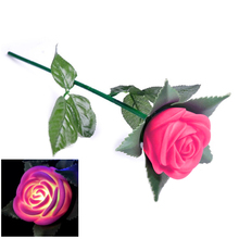 New Rose Romantic Outdoor Yard Garden Path Way Tulip Bar Landscape Flower Night Lights Decoration Gift Toys Brave Heart Pink(China)