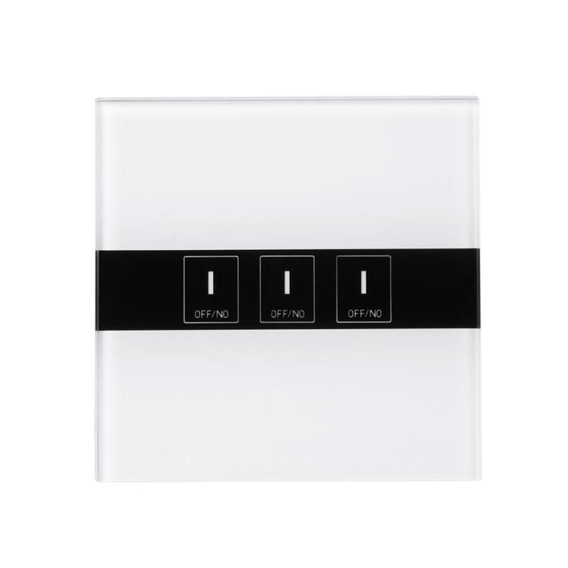 WiFi Smart Switch 3-CH Wall Light Touch Switch Moisture-proof Panel w/APP Remote Control Switch EU Plug Crystal Tempered Glass <br>