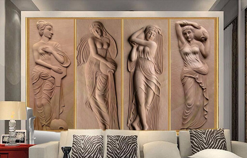 Custom vintage wallpaper,People Relief,3D stereoscopic wallpaper for the living room bedroom TV backdrop waterproof wallpaper<br>