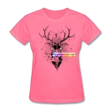 Womens Moth Eaten Deer Head t shirt Site Discount XXL tshirts Girl Costumes Cheap(China)