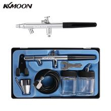 KKmoon Siphon Feed Dual Action 0.35mm Airbrush Kit Spray Gun Air Brush for Makeup Cake Art Painting Tattoo Manicure(China)