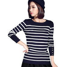 2017 Women Spring Autumn Winter O Neck Sweater Striped Pullovers Long Sleeve Jumpers Womens Knitted Sweaters Tops B197