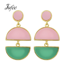 Jufee    New Statement Long Earrings Pink Green White Acrylic Earring Semicircle Drop Hanging Earring For Women Accessories