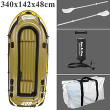 fishman 4 Person 340cm PVC thick inflatable boat fishing boat inflatable kayak air cushion aluminium paddle pump dinghy air raft