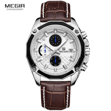 MEGIR quartz male watches Genuine Leather watches racing men Students game Run Chronograph Watch male glow hands for Man 2015G(China)