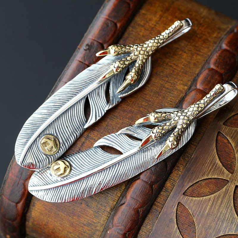 Wholesale Takahashi Goro Handmade Personality Feather Pendant Talon Left And Right Retro Thai Silver Pendant Men And Women