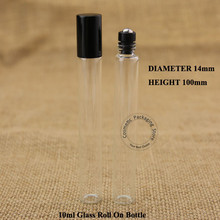 50pcs/Lot  Wholesale 10ml Perfume Bottle Glass Roll on Vial Parfume 1/3OZ Container Refillable Packaging Essential oil Jar