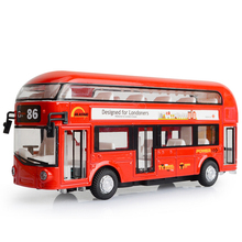 Kids Car model Toys London Double-decker Bus Alloy Sightseeing Bus Model Pull Back With Sound and Light Gift for Children LF772