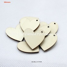 "(100pcs/lot) 30mm One hole unfinished blank wooden heart crafts supplies paint wedding key chain ornaments 1.2""-CT1110"