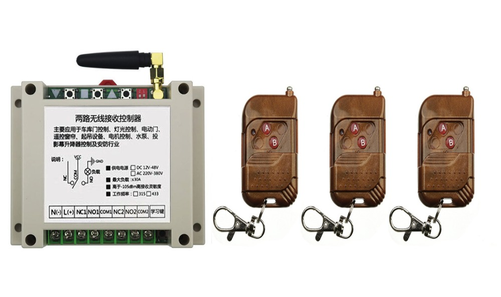 AC220V 250V 380V 30A 2CH RF Wireless Remote Control Switch System 3 transmitter &amp; 1 receiver relay Receiver Smart Home Switch<br>