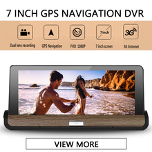 DVR Dash Camera NEW 4G 7 inch Car GPS Navigation Bluetooth Android 5.1 Navigator Dual Len Recorder with Free map vehicle Camera(China)