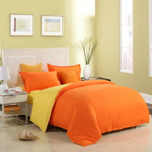 Modern Minimalist Style Bedding Orange Bright Quilt Cover Soft And Comfortable Duver Cover Bed Sheet Piloow Case Bedding Set