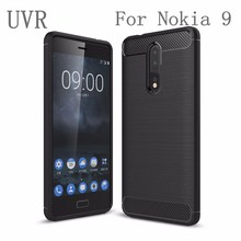UVR For Nokia 9 Case Carbon Fiber Brushed TPU Silicone Back Cover Funda For Nokia9 Cover Mobile Phone Cases