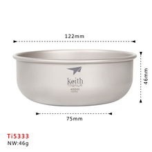 Keith Ti5333 Titanium Bowl Outdoor And Camping Cookware Set Pocket And Backpack
