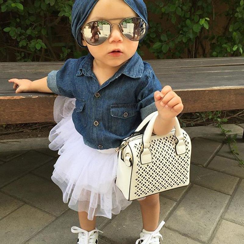 0-5a enfant nouveau enfants bébé filles infantile à manches longues denim tops shirt + tutu jupes dress + bandeau 3 pcs jeans tenues vêtements set 3