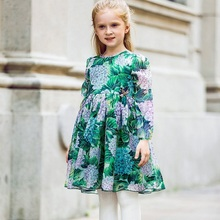 Gilr Dress Robe Fille Mariage 'Ortensia' Flower with Handmade Butterfly Summer Dress Children Clothing Costume for Kids Clothing(China)