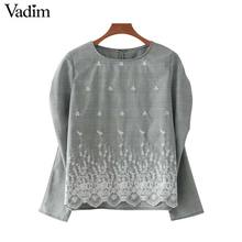 Vadim lace floral embroidery pleated shirt vintage houndstooth checkered o neck blouse ladies loose casual tops blusas LT2197(China)