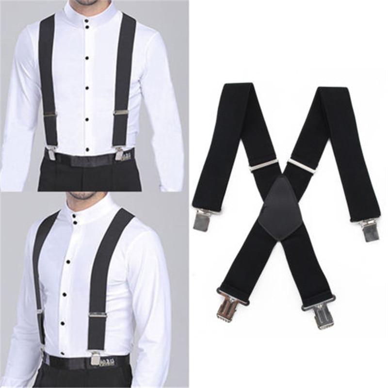 New Mens Black Button On Formal Tuxedo Wedding Elastic Suspenders Adjustable